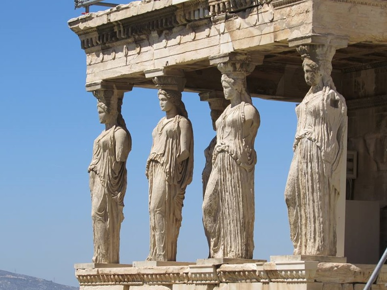 Exploring the Acropolis in Athens - the Karyatides statues