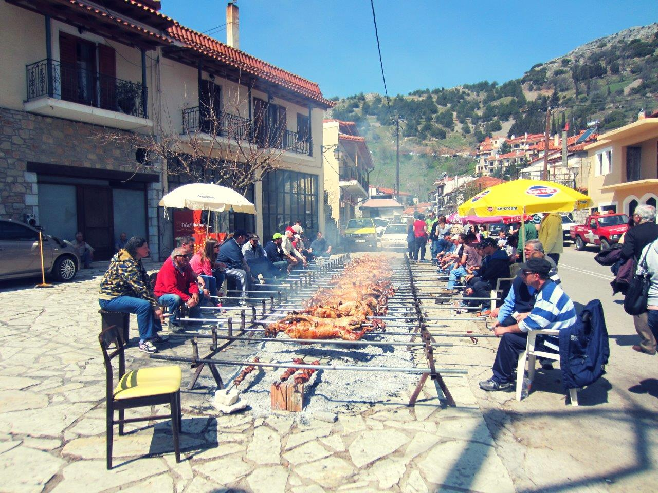 Greek Easter - Lamb on the spit in Arachova