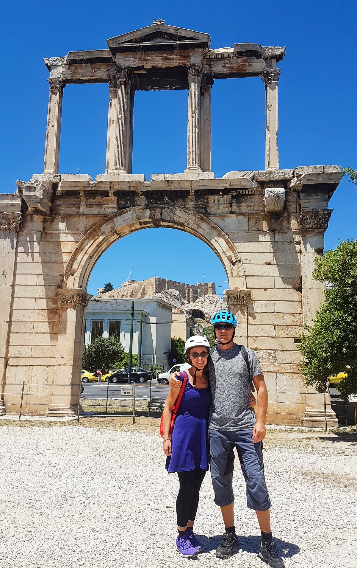 The majestic Hadrian's arch in Athens Greece