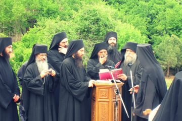 Monks in a Greek monastery
