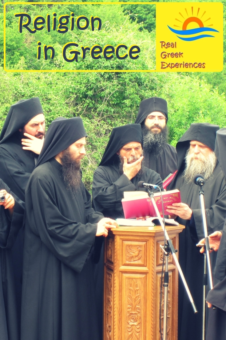 Monks in a Greek orthodox monastery
