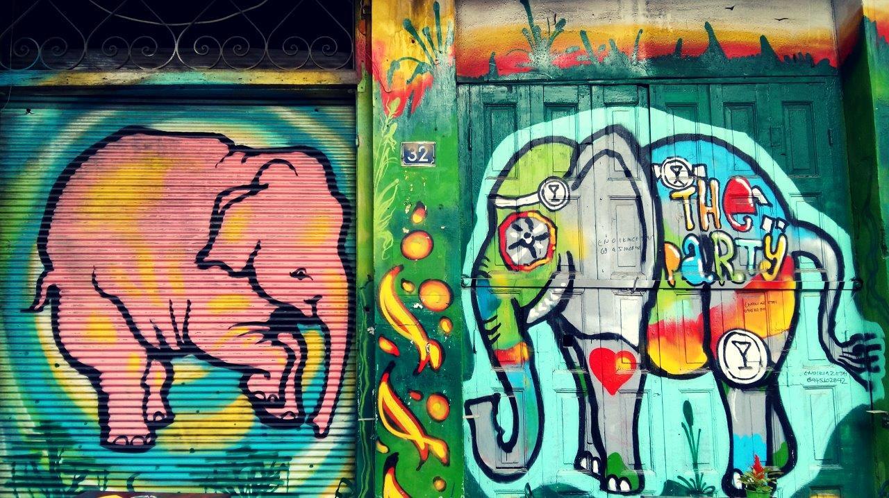 Street art in Athens - Elephants