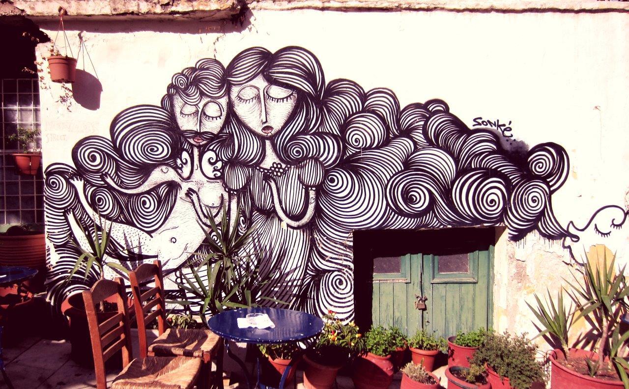Sonke street art in Plaka