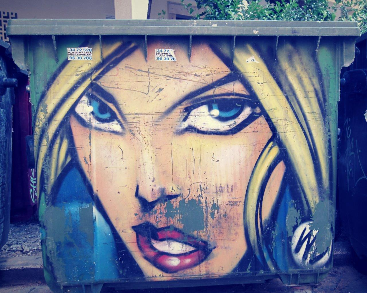 Athens street art - A bin