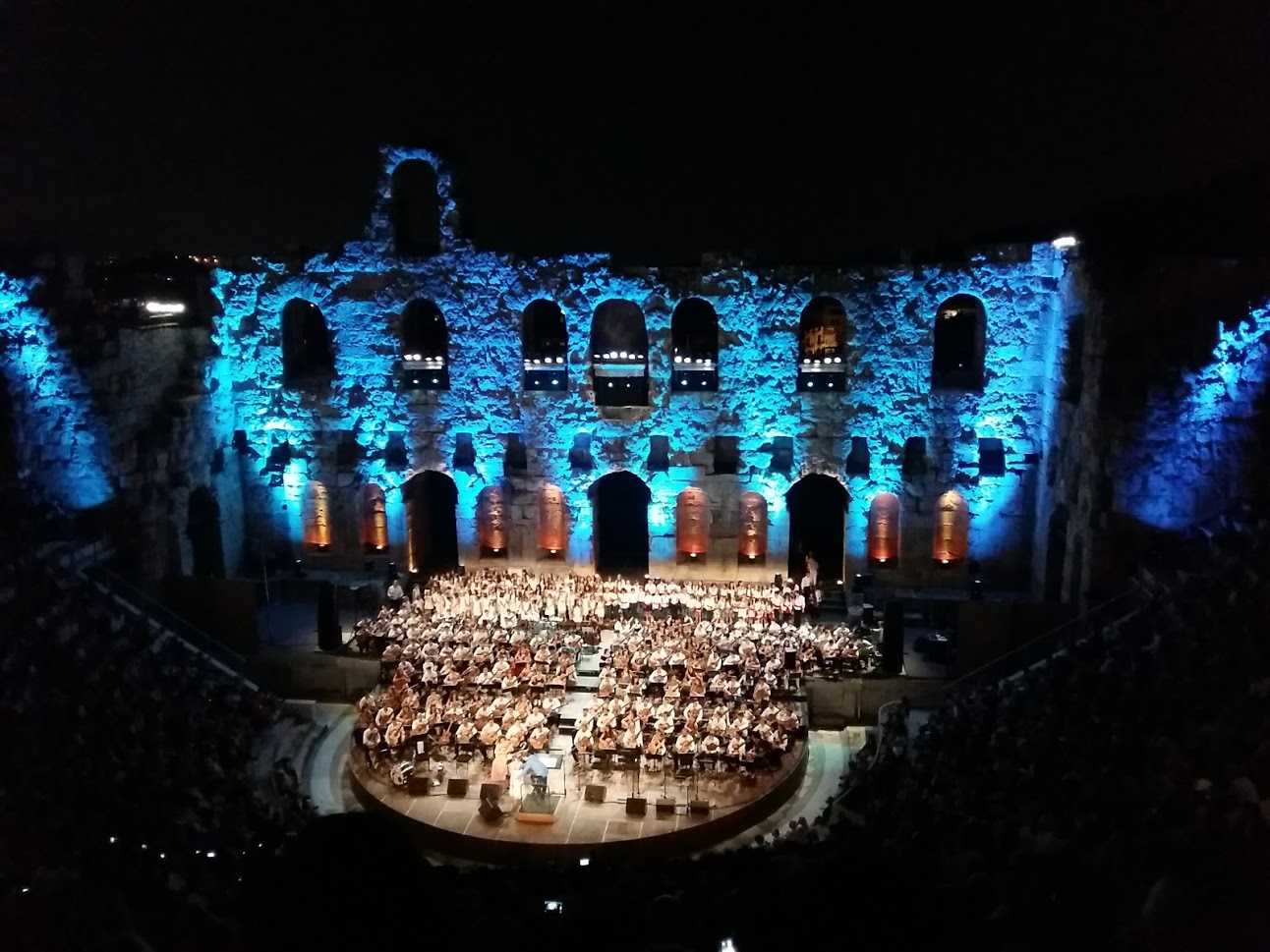 Seeing a performance inside the Herodion theatre in Athens Greece