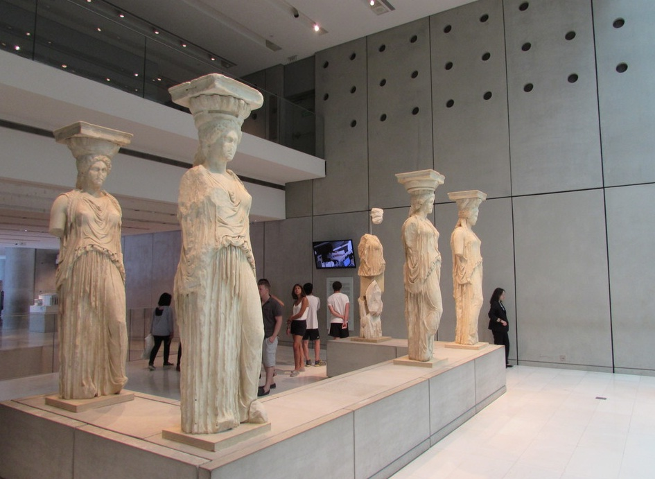 Statues inside the New Acropolis Museum in Athens