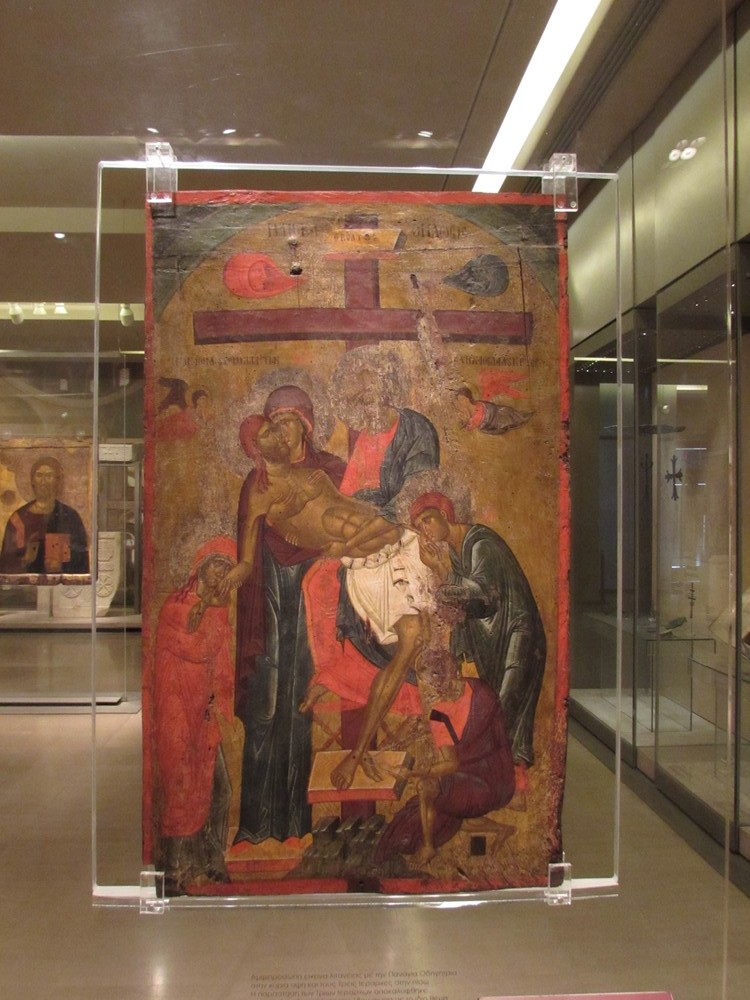 An exhibit from inside the Byzantine and Christian Museum in Athens Greece