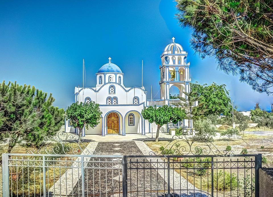 A stunning church in Santorini Greece
