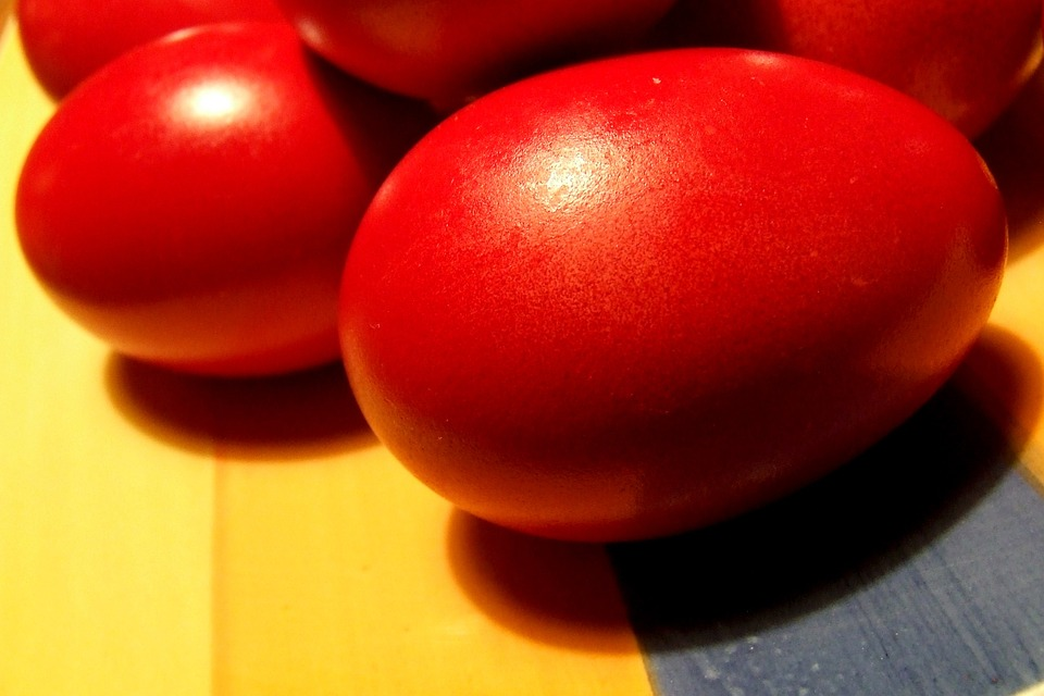 Red painted eggs are common place in Easter in Greece