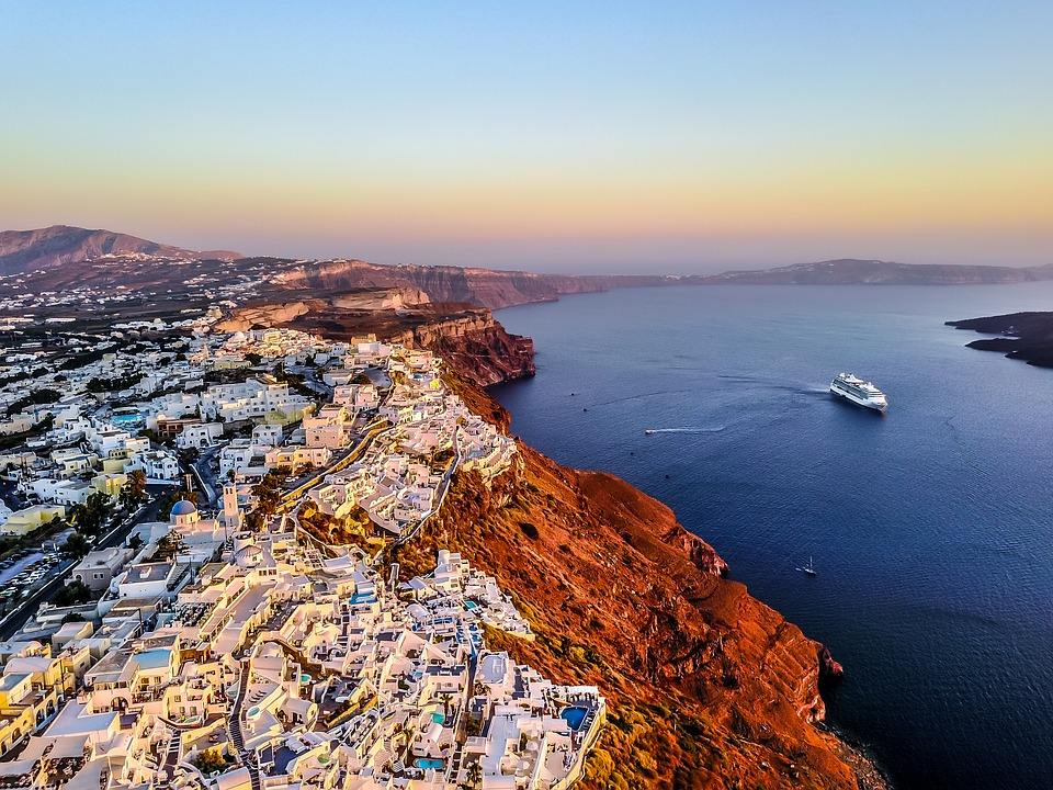 An epic view out over Santorini in winter