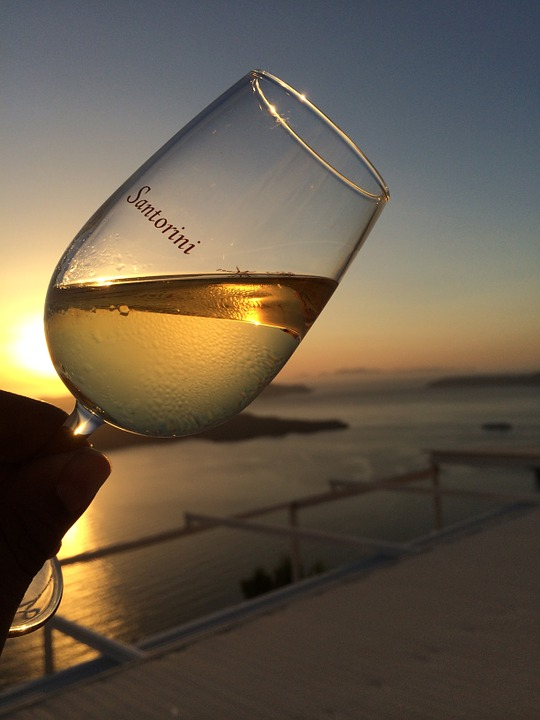 Enjoying a glass of Santorini wine
