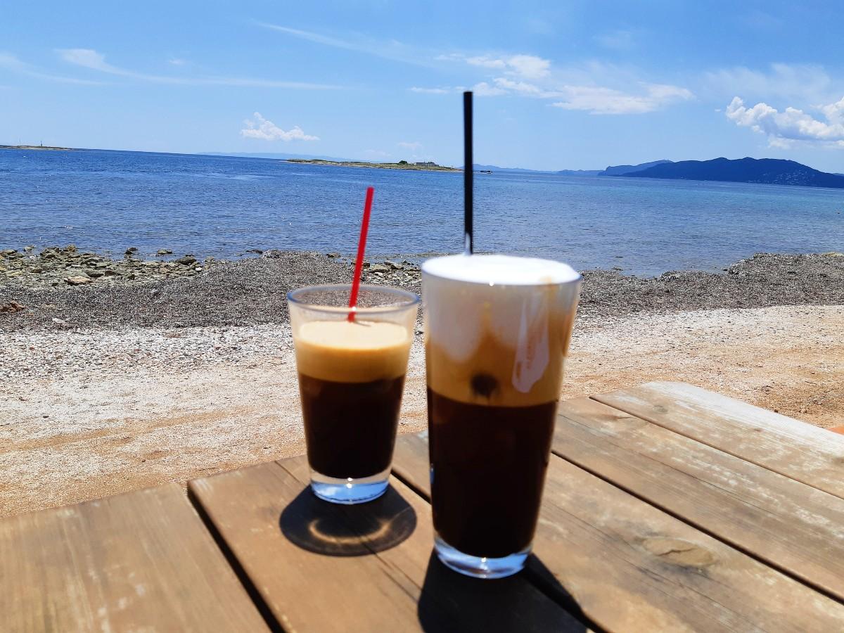 Greek coffee by the beach