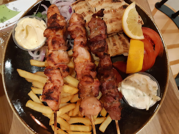 Traditional Greek food souvlaki