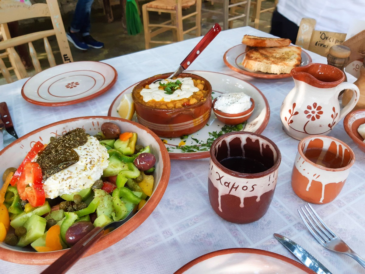 A Greek meal with wine