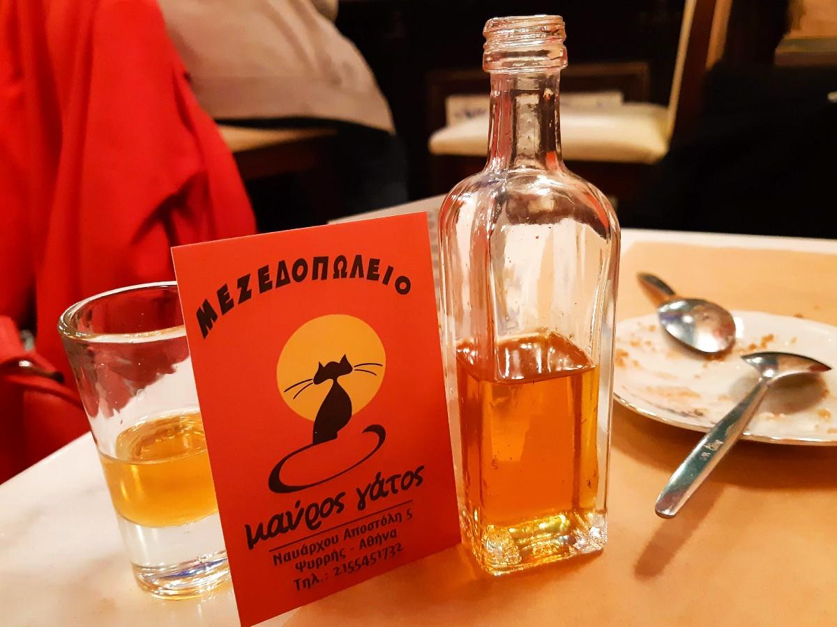 Greek rakomelo drink raki with honey