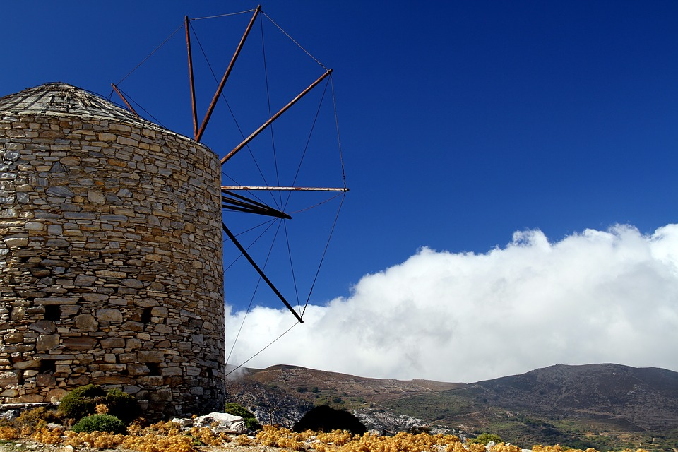 Stone windmill Naxos Greece