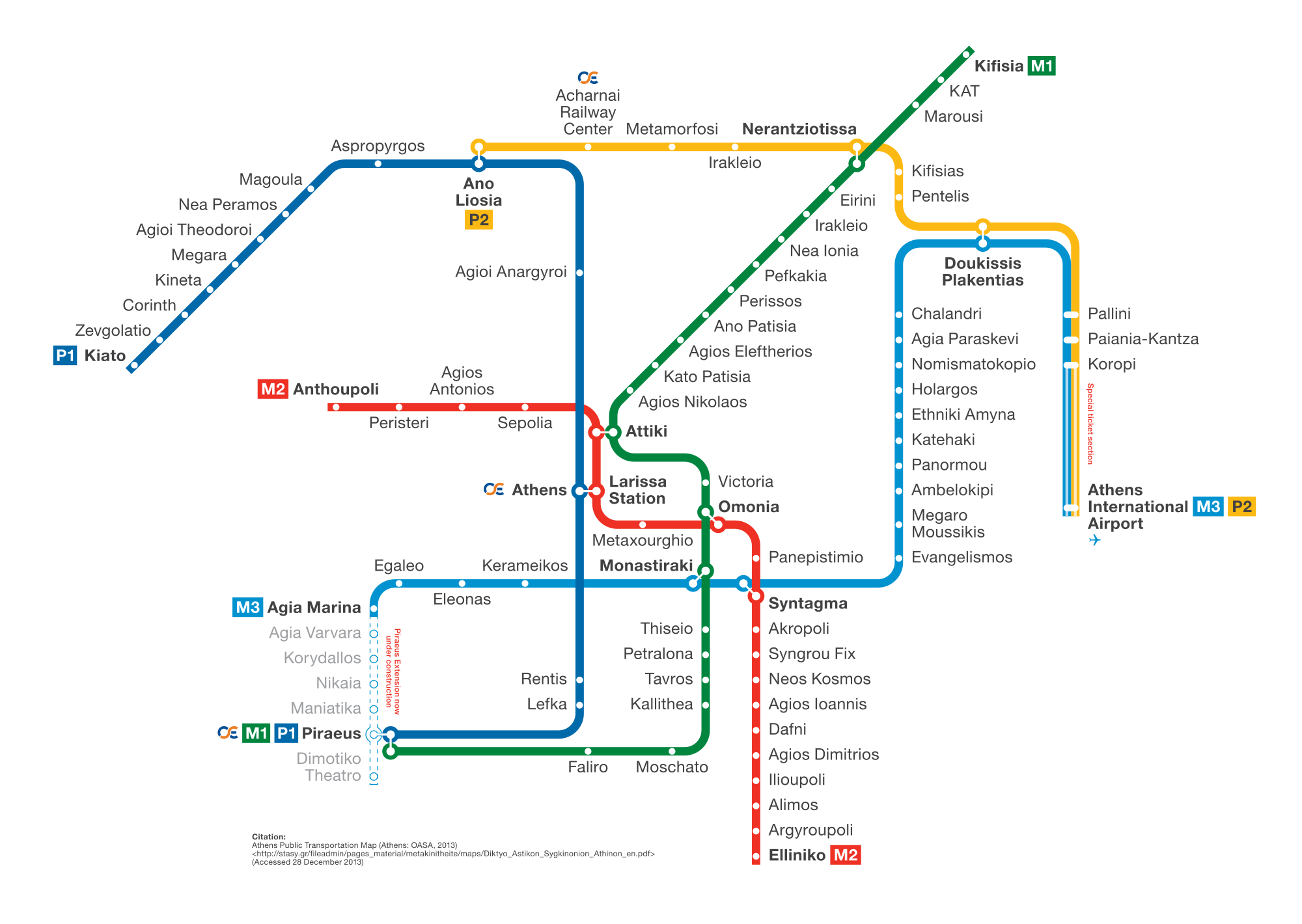 An Athens Metro map - Useful when taking the Athens metro