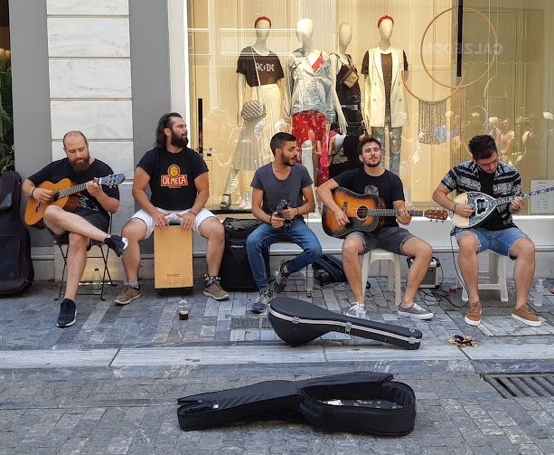 Free things to do in Athens - Buskers on Ermou street