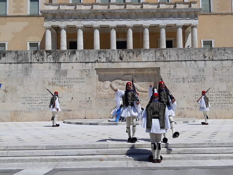 Changing of the Guards in Athens - Guards in front of the Parliament