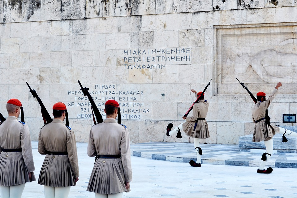 Guards in front of the Parliament in Athens