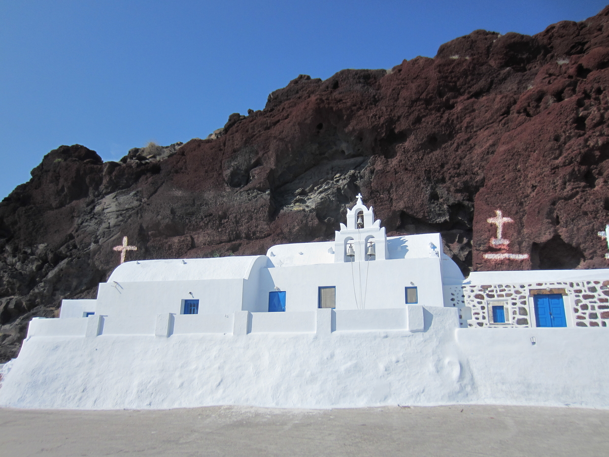 How many days in Santorini - Church near Red Beach
