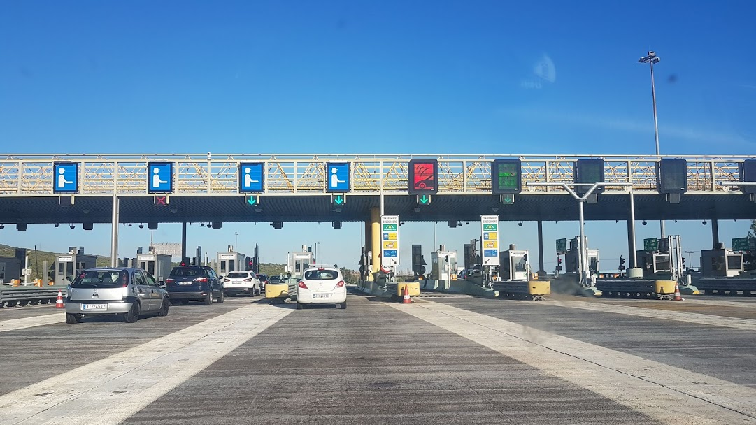 Driving in Greece - Toll station on the highway