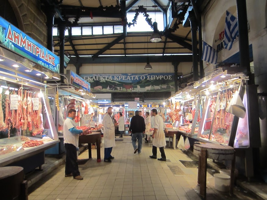 Athens food market - Meat market