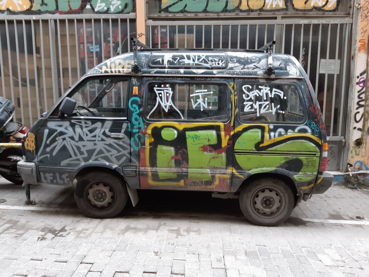 Psyri in Athens - A van with graffiti