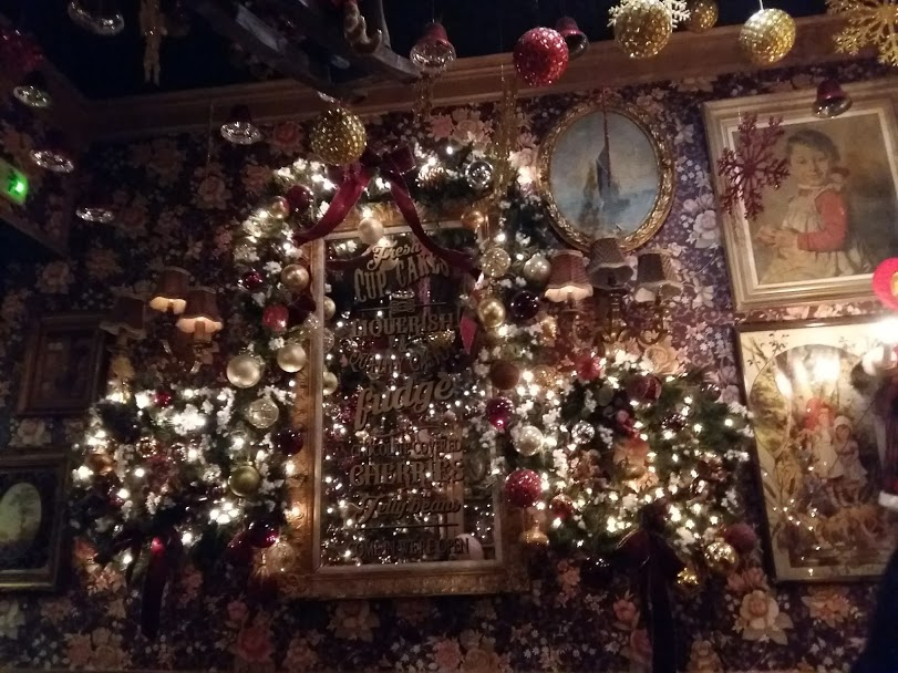 The interior of the Little Kook cafe in Athens at Christmas
