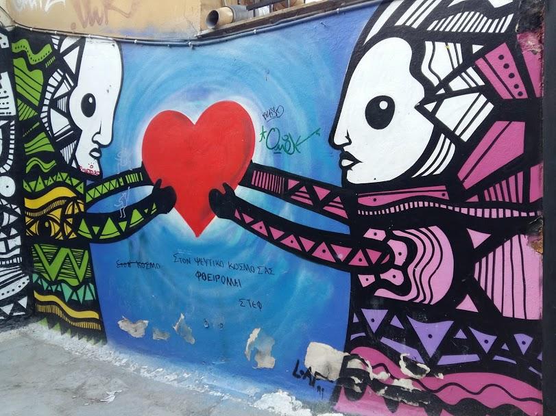 Street art in Anafiotika Athens