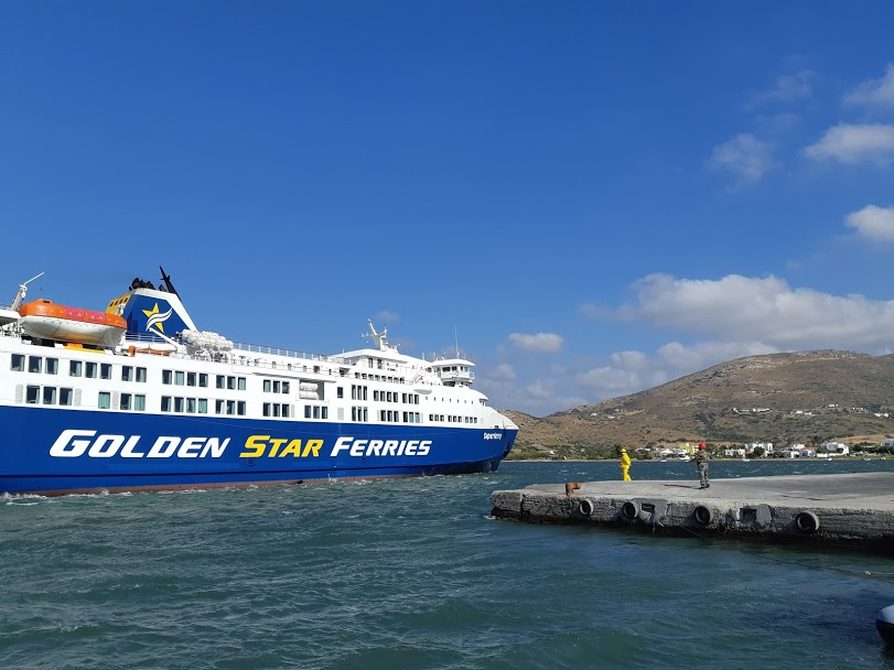 Ferries in Greece can take long to dock if it's windy