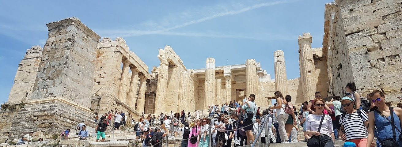 The best time to visit the Acropolis is very early in the morning or late evening to avoid the crowds like this!