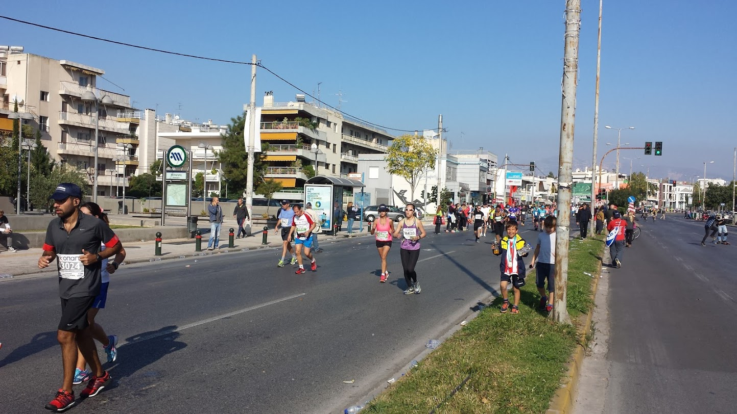 People running the authentic Athens Marathon