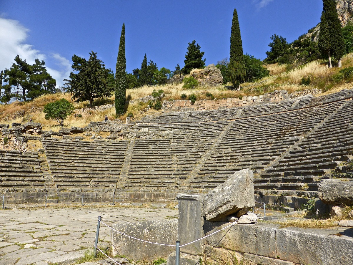 Ancient theatre in Delphi - Two week Greek vacation
