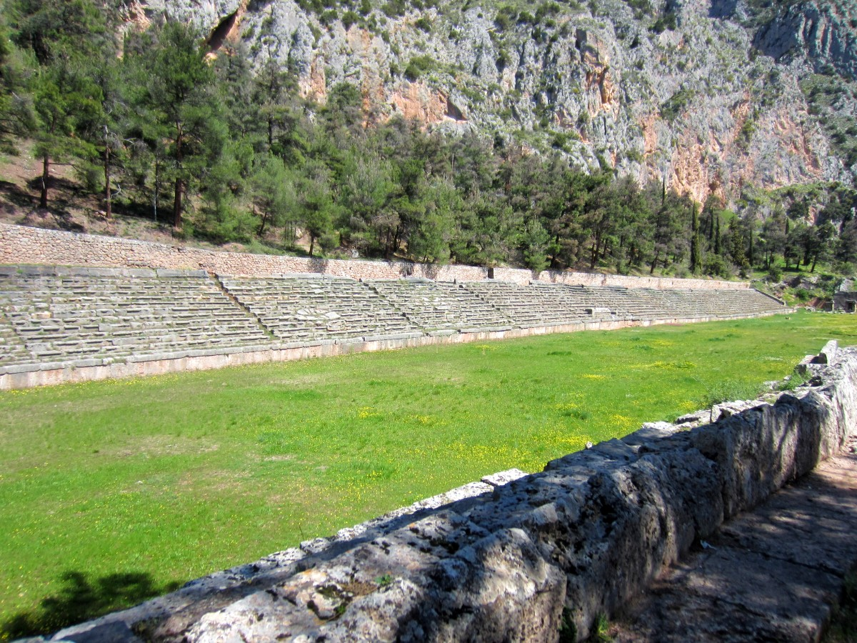 The stadium at the Archaeological site of Delphi Greece
