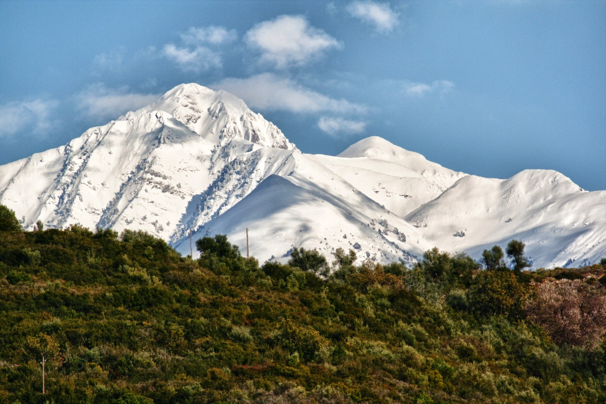 Taygetos mountain in the Peloponnese with snow on