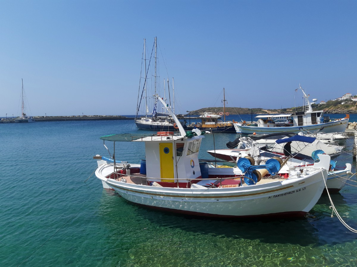 Fishing boat in Andros Greece