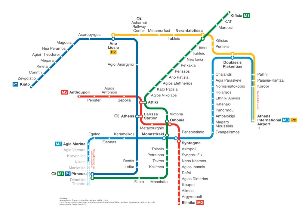 Map of the metro system in Athens