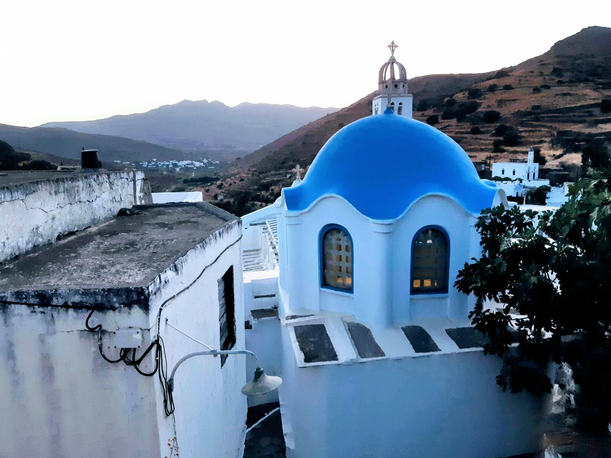 A blue-domed church in Agapi village Tinos