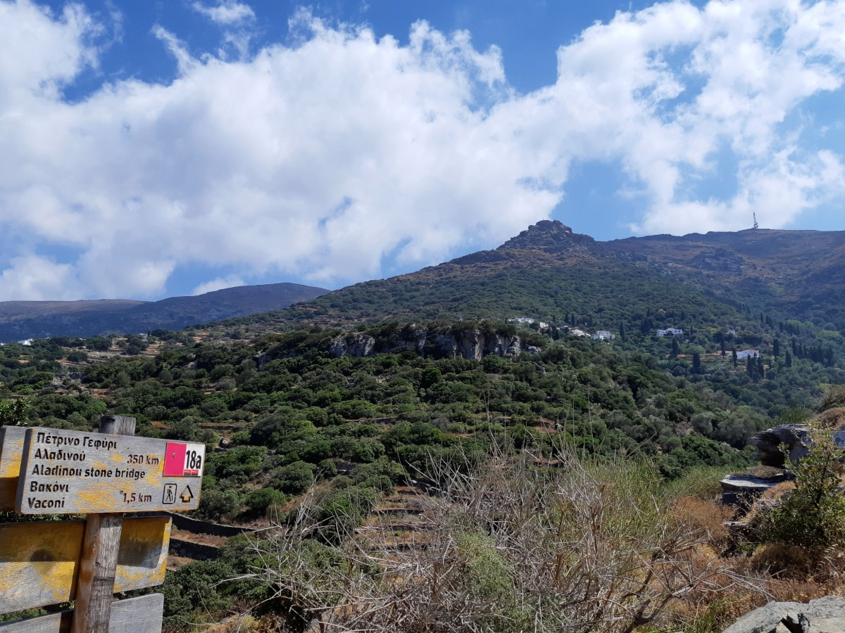 Hiking paths in Andros Greece are well signposted