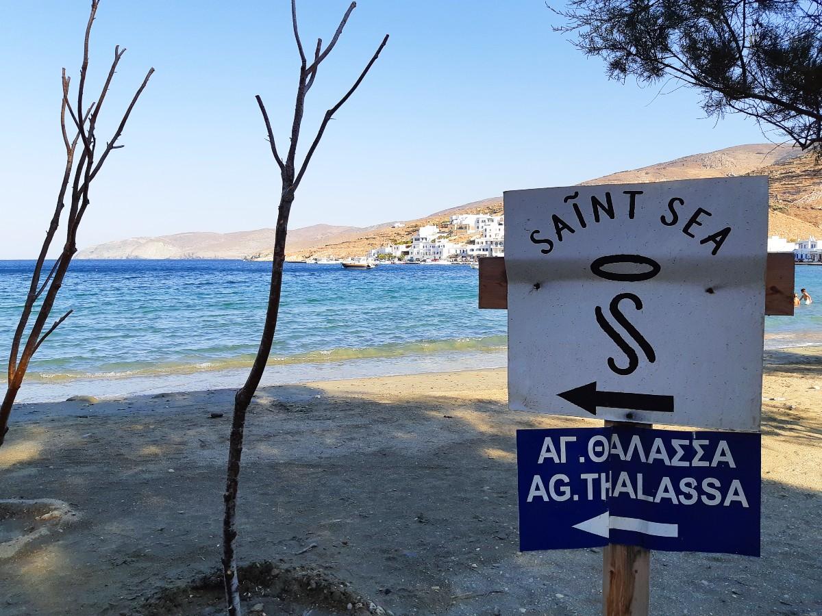 A sign to Agia Thalassa beach Tinos Greece