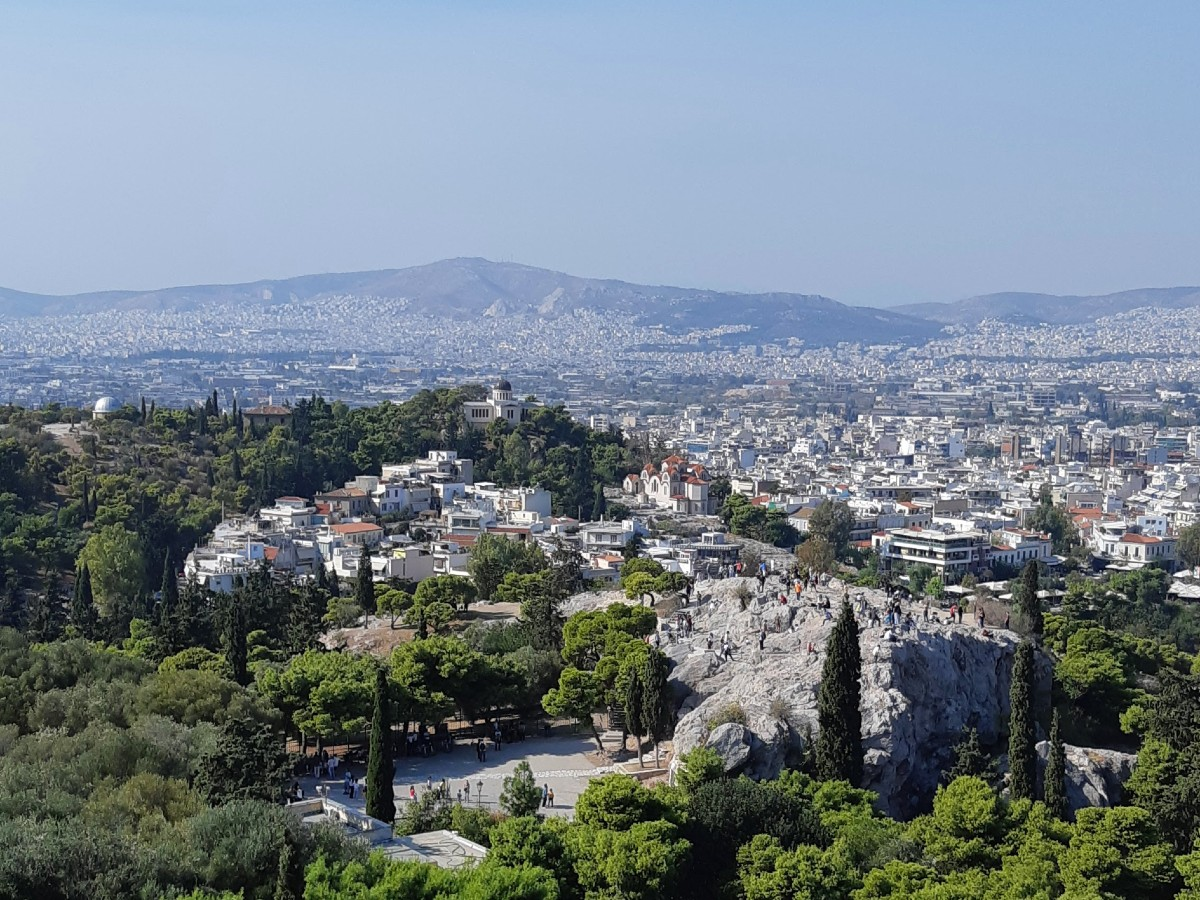 View of Areios Pagos rock from the Acropolis