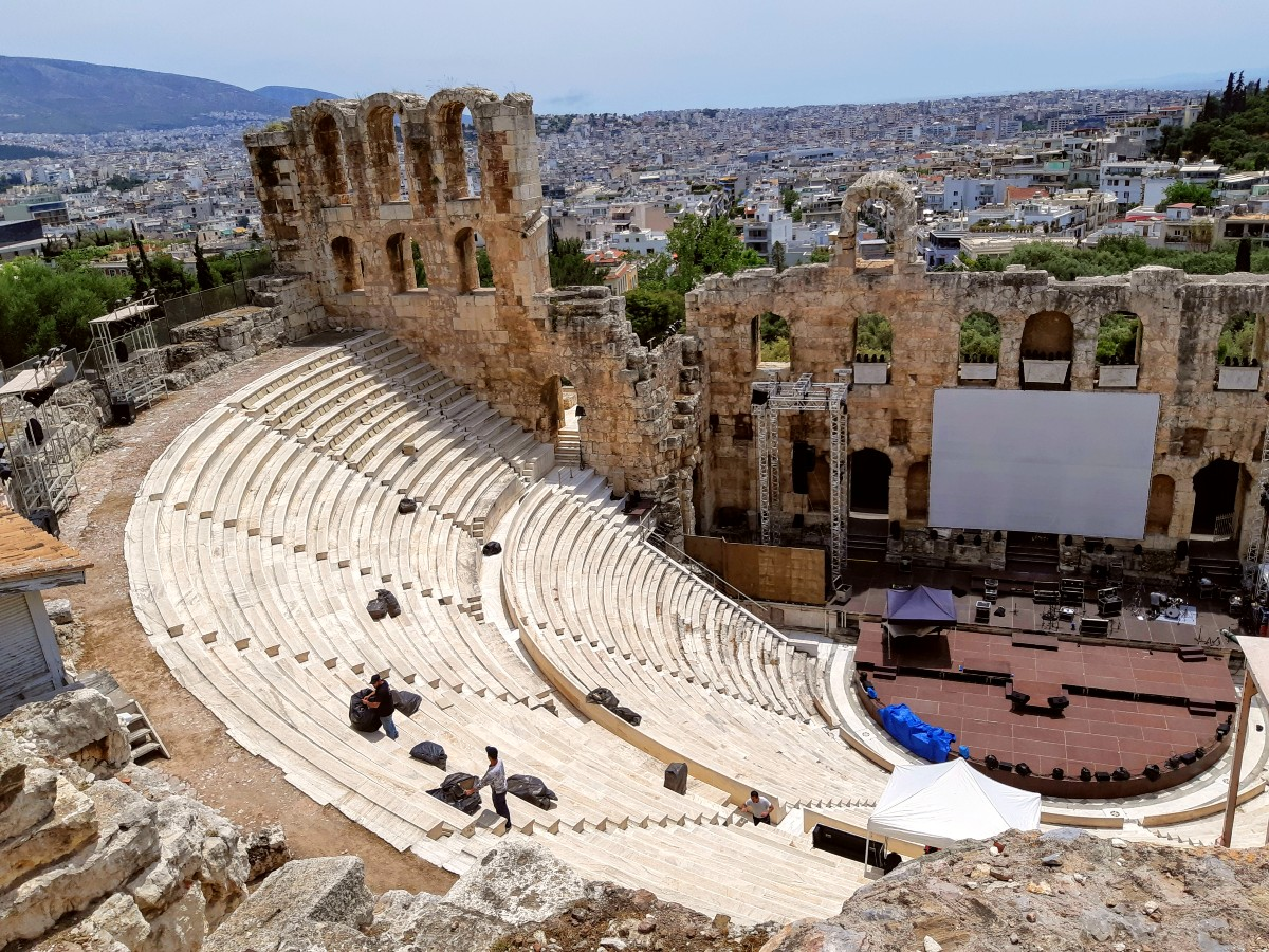 You can see Herodion theatre from the Acropolis hill in Athens