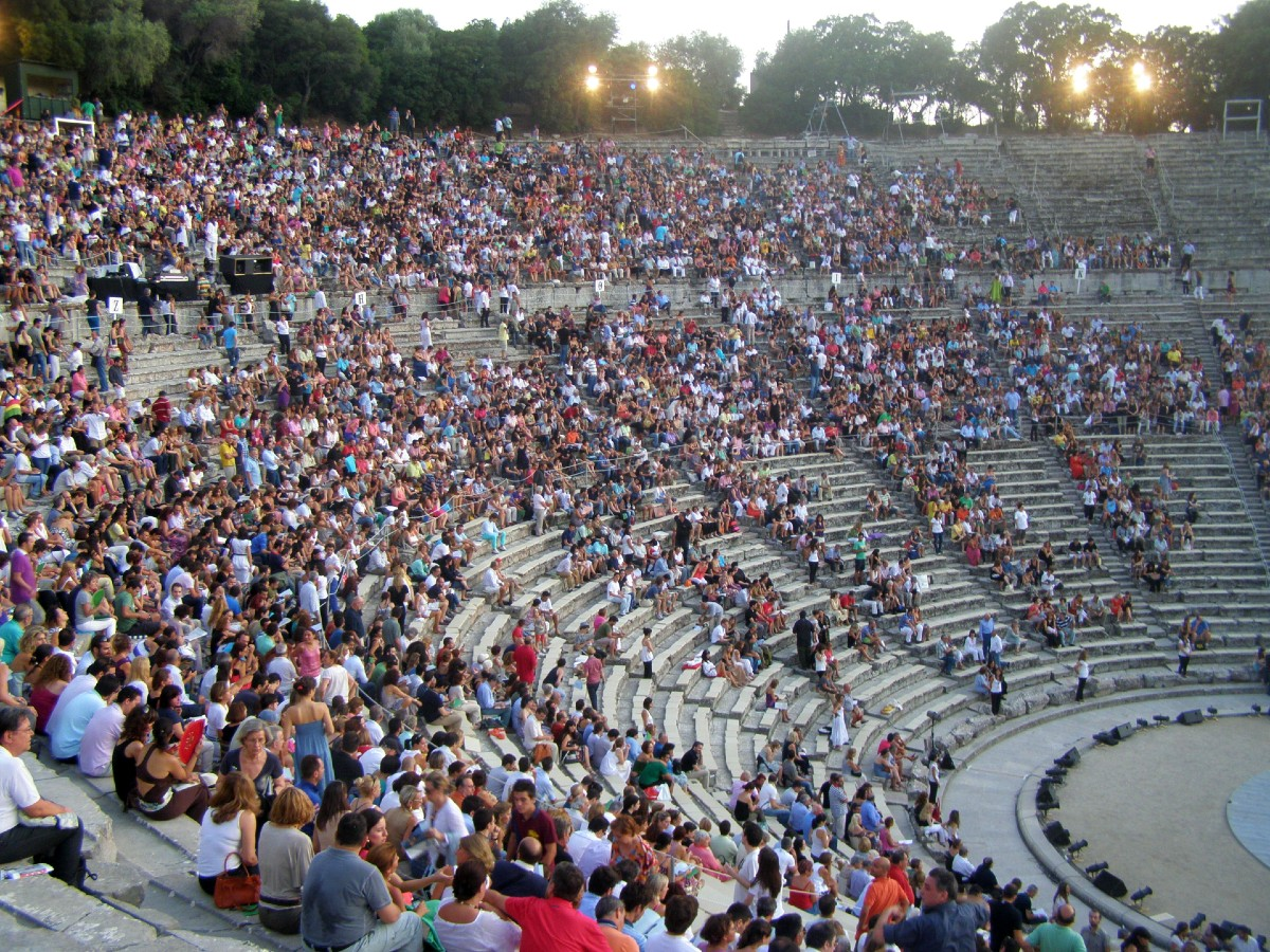 A performance in Ancient Epidaurus theatre Greece