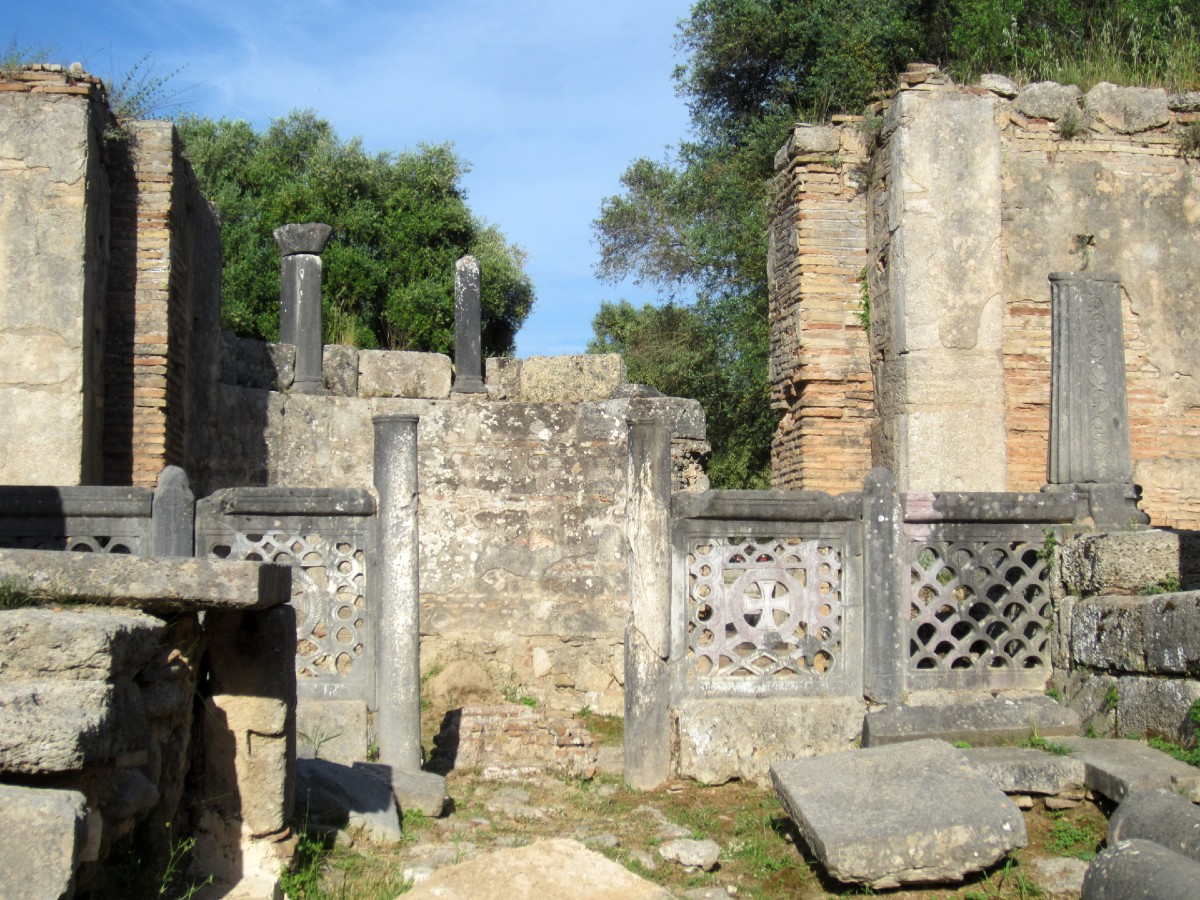 Ruins in the site of Ancient Olympia in the Peloponnese