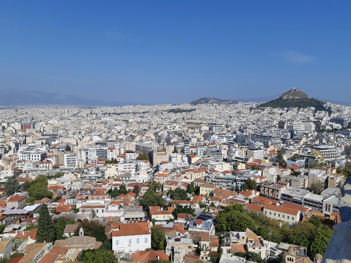 Lycabettus hill Athens from above
