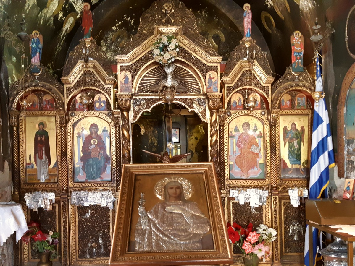 Inside a Greek orthodox church