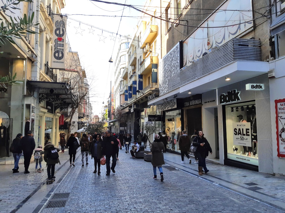 Ermou shopping street in Athens