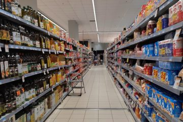 A well-stocked supermarket in Athens during coronavirus