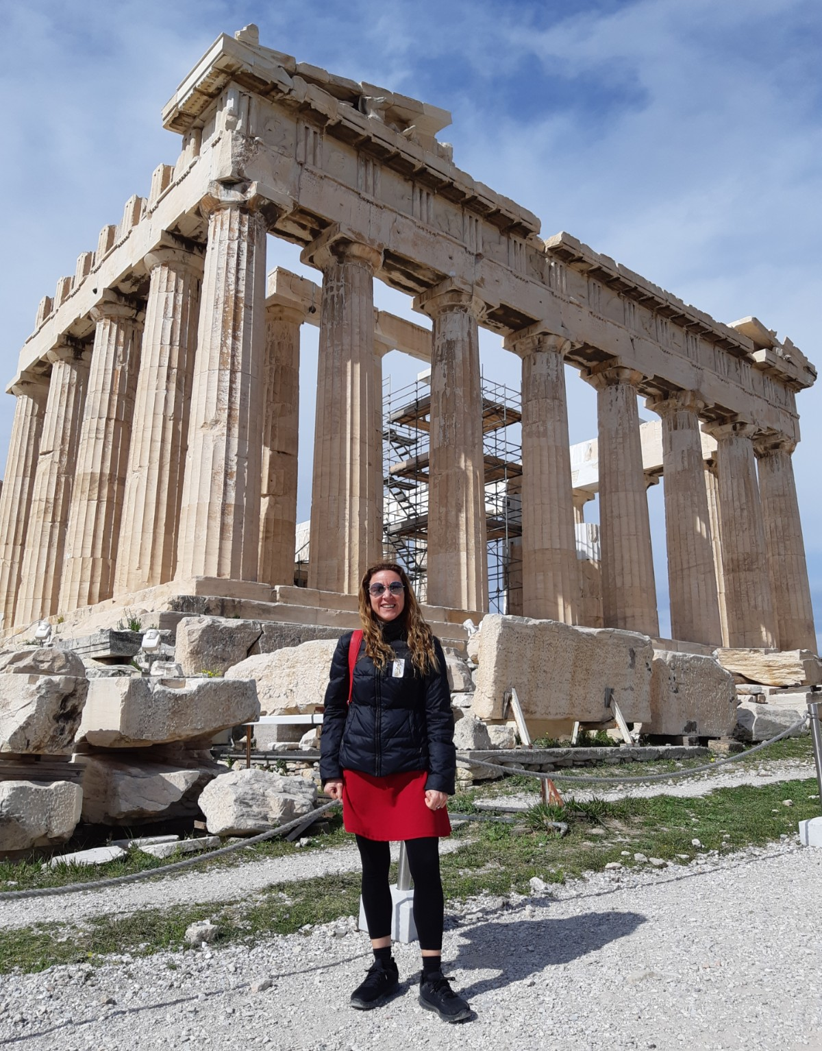 Vanessa in front of the Parthenon on the Acropolis